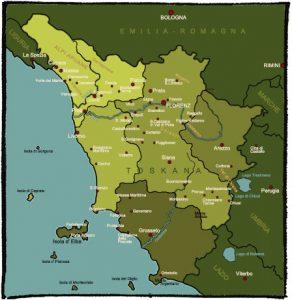 Landkarte der Toskana mit Urlaubsorten